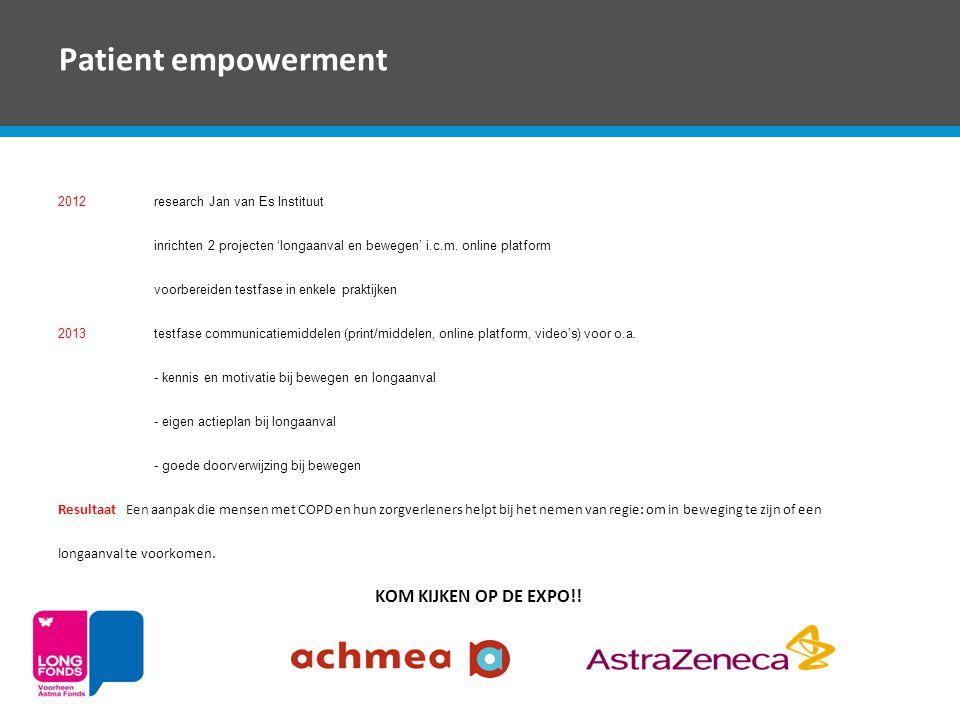 Patient empowerment 2012research Jan van Es Instituut inrichten 2 projecten 'longaanval en bewegen' i.c.m. online platform voorbereiden testfase in en