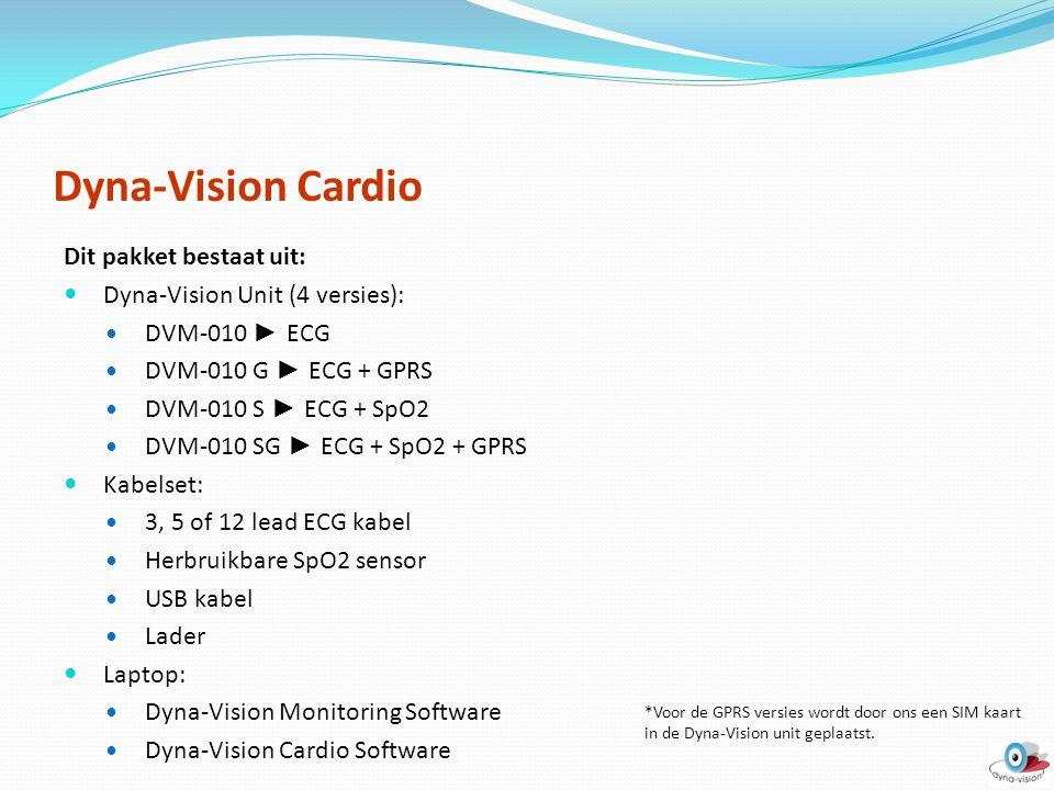 Dyna-Vision Cardio Dit pakket bestaat uit: Dyna-Vision Unit (4 versies): DVM-010 ► ECG DVM-010 G ► ECG + GPRS DVM-010 S ► ECG + SpO2 DVM-010 SG ► ECG