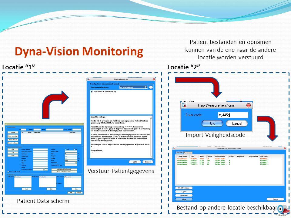 """Patiënt Data scherm Verstuur Patiëntgegevens Import Veiligheidscode Bestand op andere locatie beschikbaar Locatie """"1""""Locatie """"2"""" Patiënt bestanden en"""