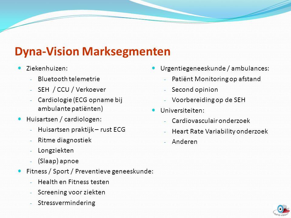 Dyna-Vision Marksegmenten Ziekenhuizen: - Bluetooth telemetrie - SEH / CCU / Verkoever - Cardiologie (ECG opname bij ambulante patiënten) Huisartsen /