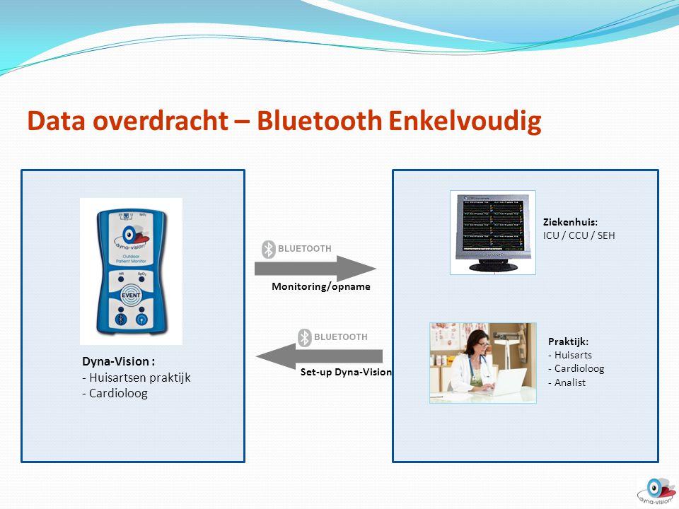 Data overdracht – Bluetooth Enkelvoudig Dyna-Vision : - Huisartsen praktijk - Cardioloog Set-up Dyna-Vision Monitoring/opname Ziekenhuis: ICU / CCU /