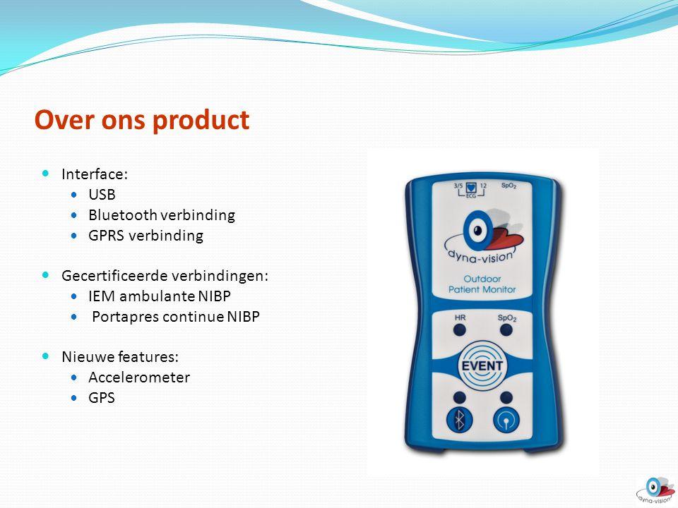 Over ons product Interface: USB Bluetooth verbinding GPRS verbinding Gecertificeerde verbindingen: IEM ambulante NIBP Portapres continue NIBP Nieuwe f