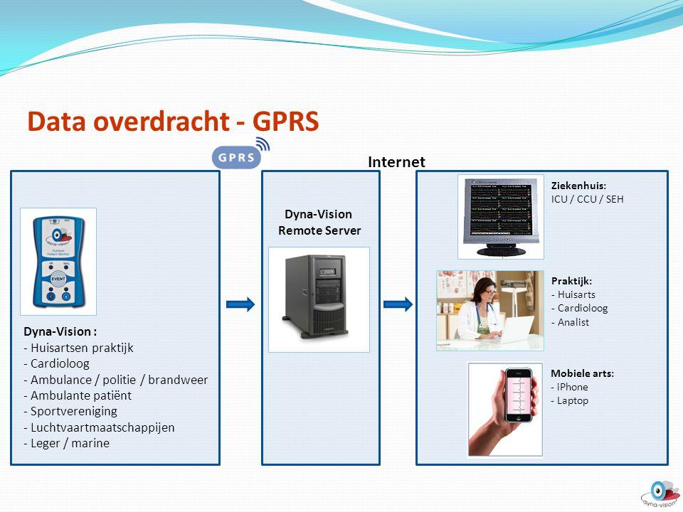 Data overdracht - GPRS Dyna-Vision Remote Server Mobiele arts: - iPhone - Laptop Dyna-Vision : - Huisartsen praktijk - Cardioloog - Ambulance / politi