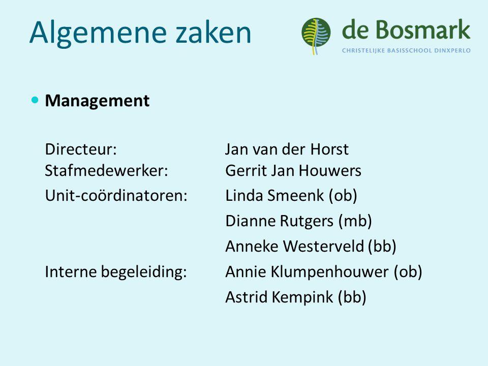 Algemene zaken Management Directeur: Jan van der Horst Stafmedewerker:Gerrit Jan Houwers Unit-coördinatoren:Linda Smeenk (ob) Dianne Rutgers (mb) Anneke Westerveld (bb) Interne begeleiding:Annie Klumpenhouwer (ob) Astrid Kempink (bb)