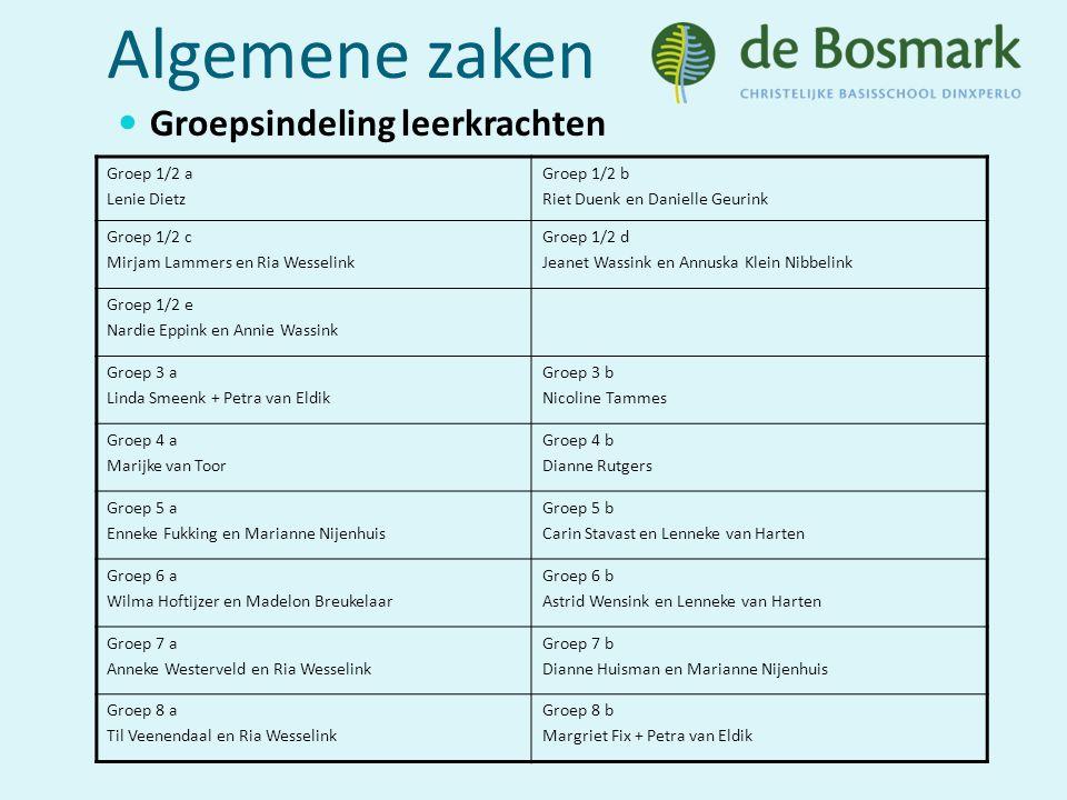 Algemene zaken Groepsindeling leerkrachten Groep 1/2 a Lenie Dietz Groep 1/2 b Riet Duenk en Danielle Geurink Groep 1/2 c Mirjam Lammers en Ria Wessel