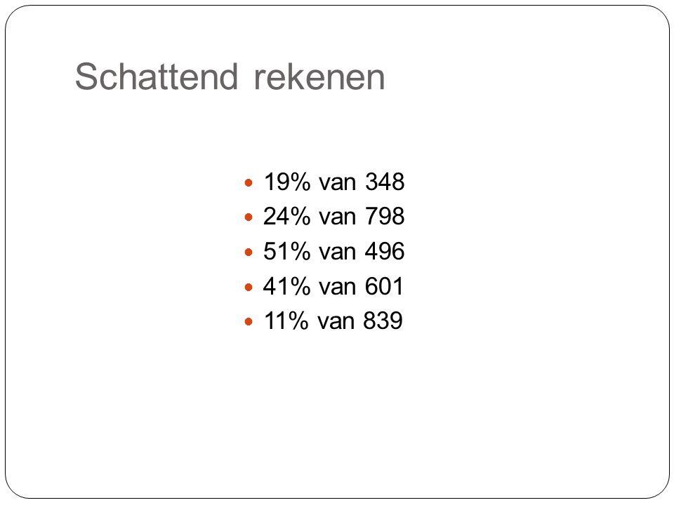 Schattend rekenen 19% van 348 24% van 798 51% van 496 41% van 601 11% van 839