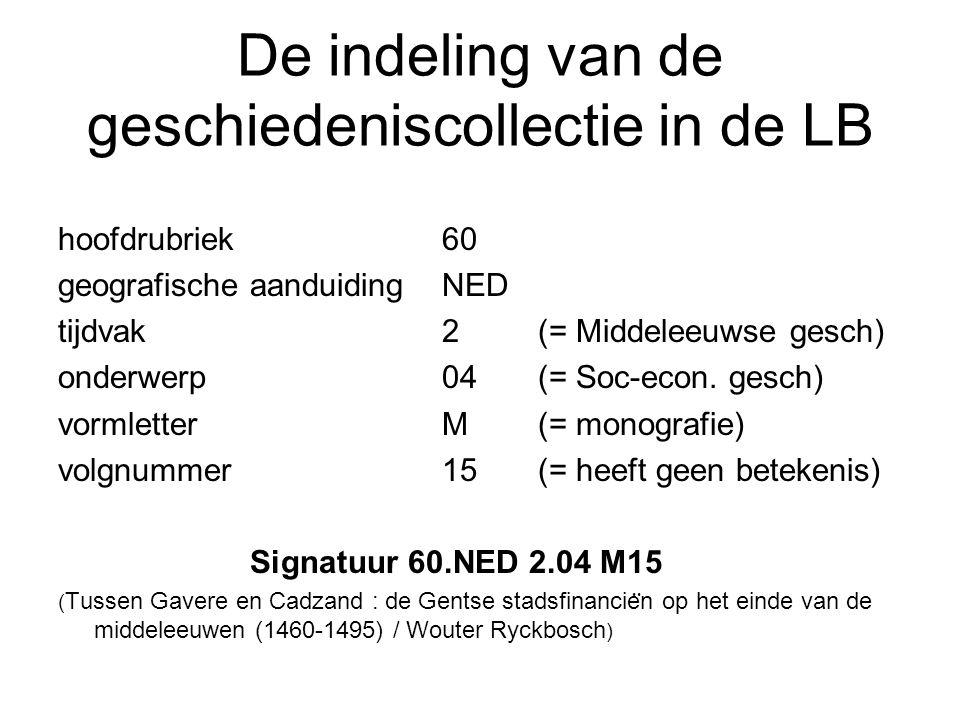 De indeling van de geschiedeniscollectie in de LB hoofdrubriek 60 geografische aanduiding NED tijdvak 2 (= Middeleeuwse gesch) onderwerp 04 (= Soc-eco