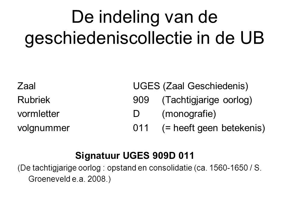 De indeling van de geschiedeniscollectie in de UB ZaalUGES (Zaal Geschiedenis) Rubriek909 (Tachtigjarige oorlog) vormletter D(monografie) volgnummer 0