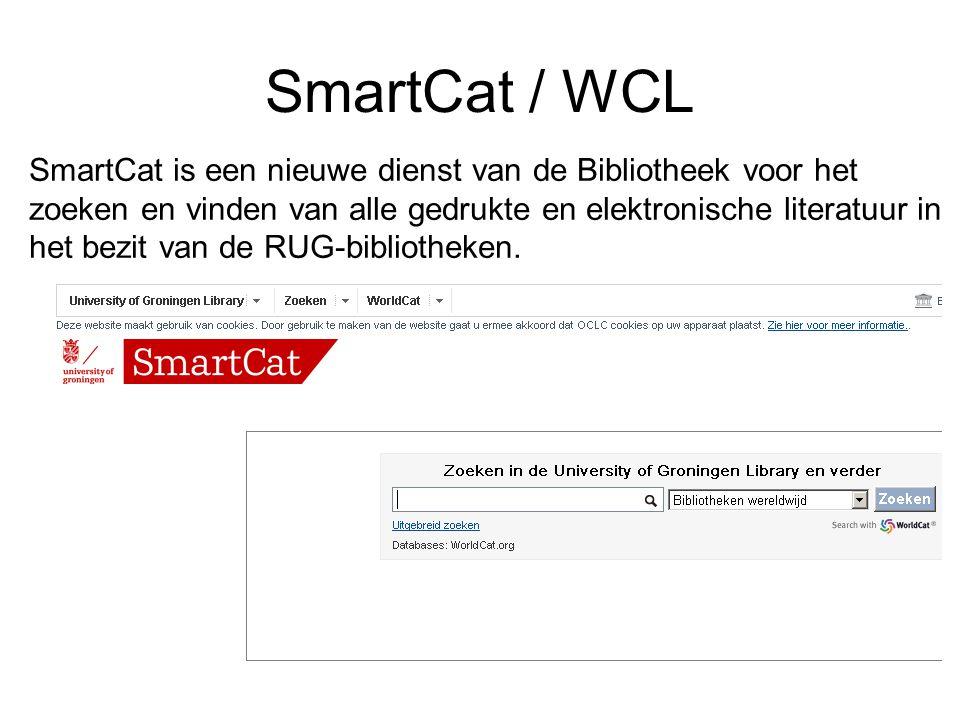 SmartCat is een nieuwe dienst van de Bibliotheek voor het zoeken en vinden van alle gedrukte en elektronische literatuur in het bezit van de RUG-bibli