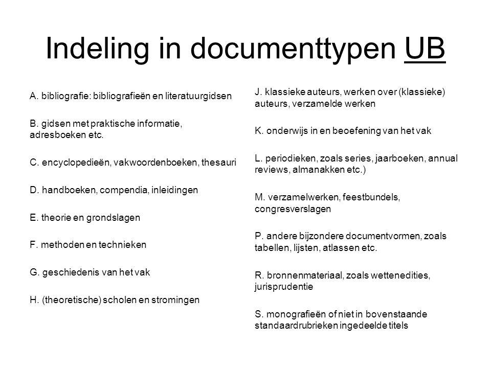 Indeling in documenttypen UB A. bibliografie: bibliografieën en literatuurgidsen B. gidsen met praktische informatie, adresboeken etc. C. encyclopedie