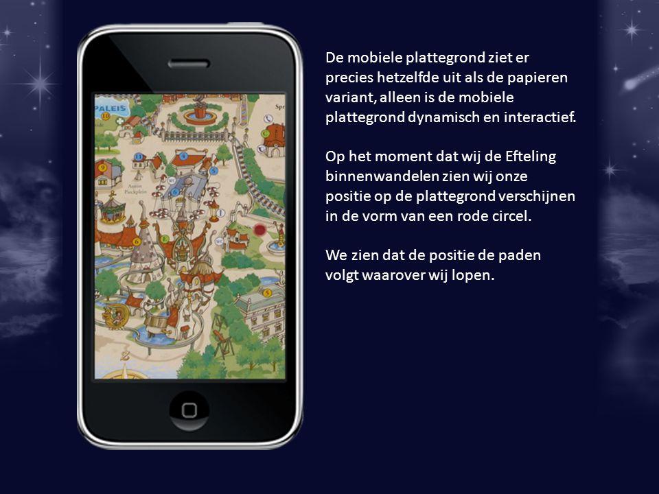 De mobiele plattegrond ziet er precies hetzelfde uit als de papieren variant, alleen is de mobiele plattegrond dynamisch en interactief.