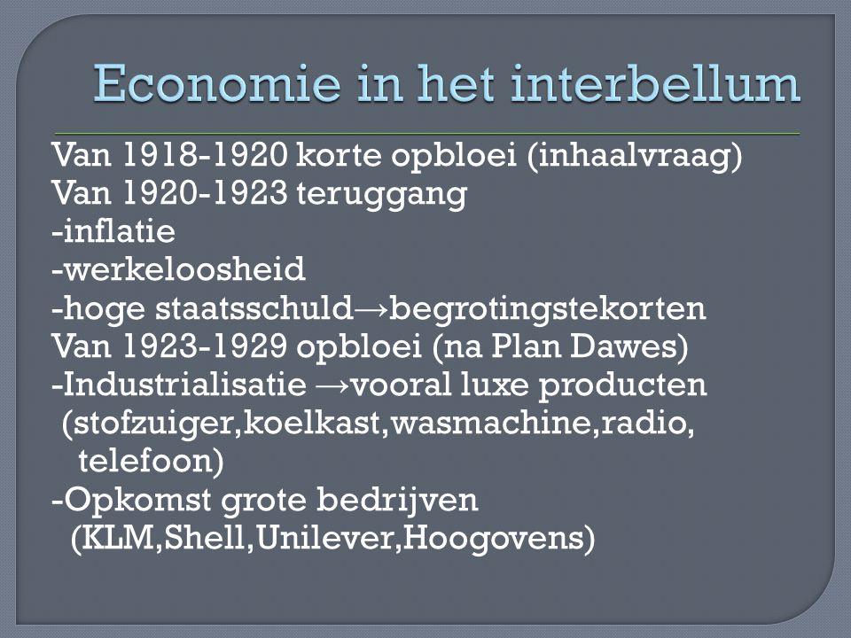 Van 1918-1920 korte opbloei (inhaalvraag) Van 1920-1923 teruggang -inflatie -werkeloosheid -hoge staatsschuld → begrotingstekorten Van 1923-1929 opblo