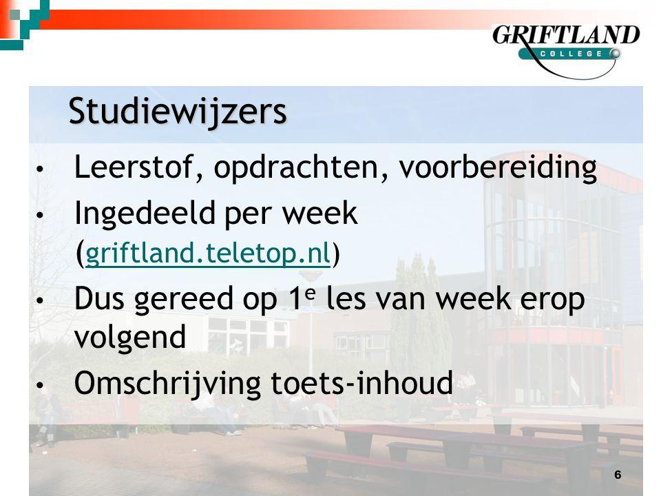 Studiewijzers Leerstof, opdrachten, voorbereiding Ingedeeld per week ( griftland.teletop.nl) griftland.teletop.nl Dus gereed op 1 e les van week erop volgend Omschrijving toets-inhoud 6
