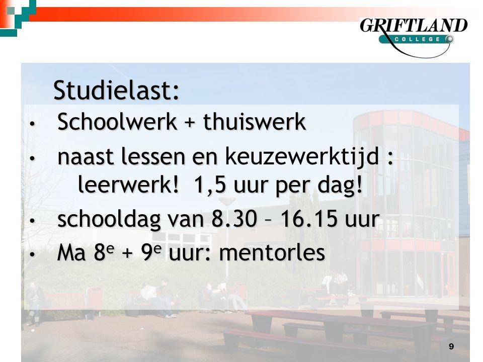 Studielast: Schoolwerk + thuiswerk Schoolwerk + thuiswerk naast lessen en : leerwerk.
