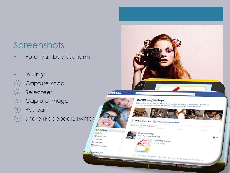 Screenshots Foto van beeldscherm In Jing: ① Capture knop ② Selecteer ③ Capture image ④ Pas aan ⑤ Share (Facebook, Twitter)