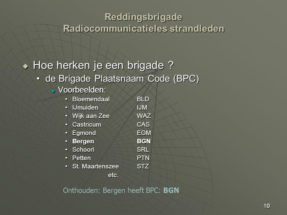 10  Hoe herken je een brigade ? de Brigade Plaatsnaam Code (BPC)de Brigade Plaatsnaam Code (BPC)  Voorbeelden: Bloemendaal BLDBloemendaal BLD IJmuid