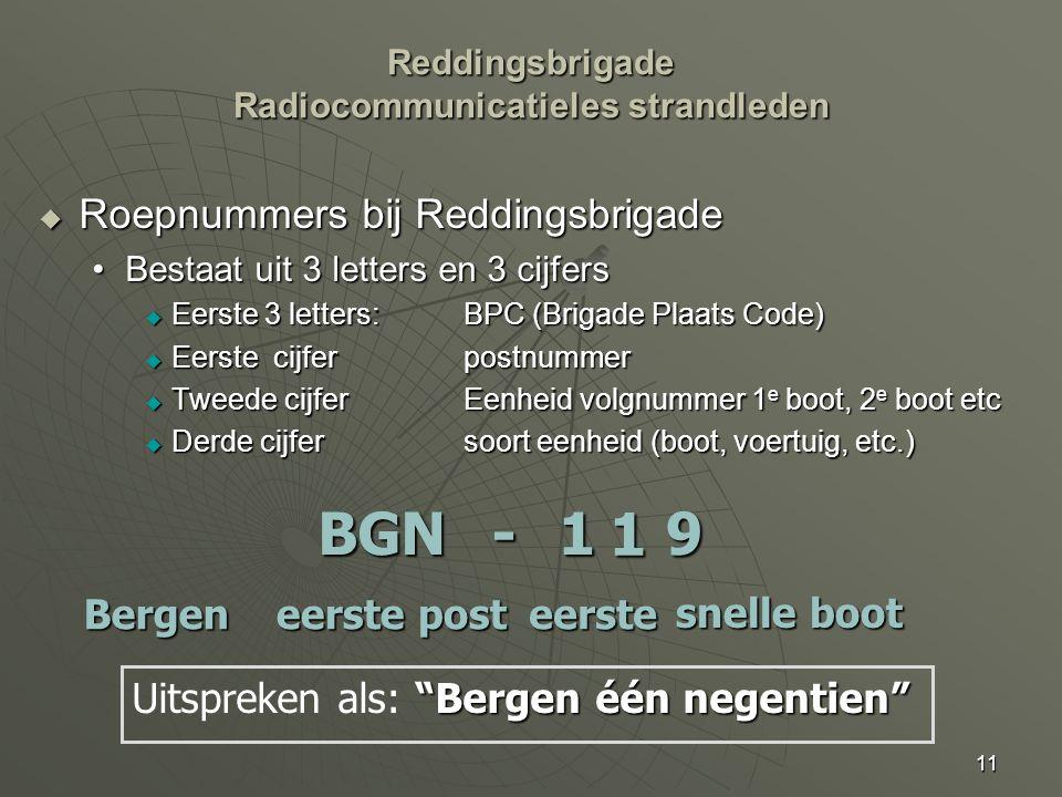 11  Roepnummers bij Reddingsbrigade Bestaat uit 3 letters en 3 cijfersBestaat uit 3 letters en 3 cijfers  Eerste 3 letters:BPC (Brigade Plaats Code)