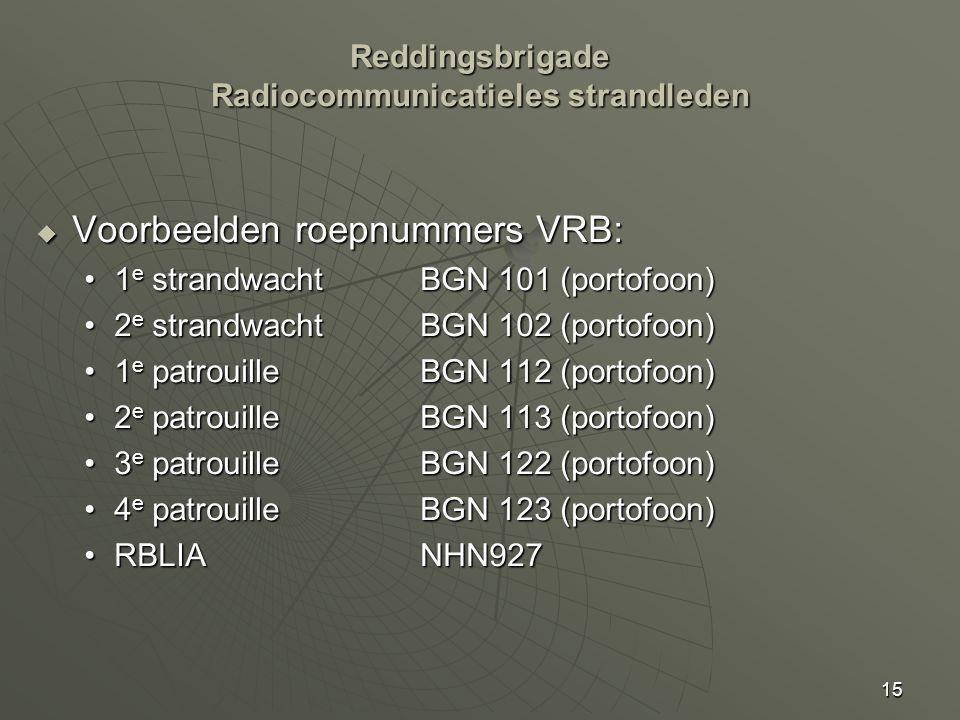 15  Voorbeelden roepnummers VRB: 1 e strandwachtBGN 101 (portofoon)1 e strandwachtBGN 101 (portofoon) 2 e strandwachtBGN 102 (portofoon)2 e strandwachtBGN 102 (portofoon) 1 e patrouilleBGN 112 (portofoon)1 e patrouilleBGN 112 (portofoon) 2 e patrouilleBGN 113 (portofoon)2 e patrouilleBGN 113 (portofoon) 3 e patrouilleBGN 122 (portofoon)3 e patrouilleBGN 122 (portofoon) 4 e patrouilleBGN 123 (portofoon)4 e patrouilleBGN 123 (portofoon) RBLIANHN927RBLIANHN927 Reddingsbrigade Radiocommunicatieles strandleden
