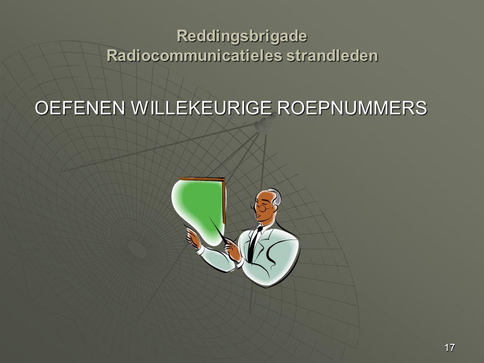 17 Reddingsbrigade Radiocommunicatieles strandleden OEFENEN WILLEKEURIGE ROEPNUMMERS
