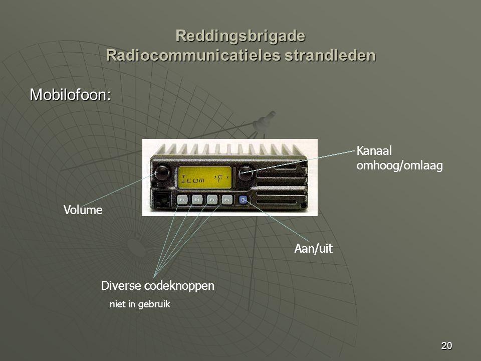 20 Mobilofoon: Aan/uit Volume Kanaal omhoog/omlaag Diverse codeknoppen niet in gebruik Reddingsbrigade Radiocommunicatieles strandleden Aan/uit