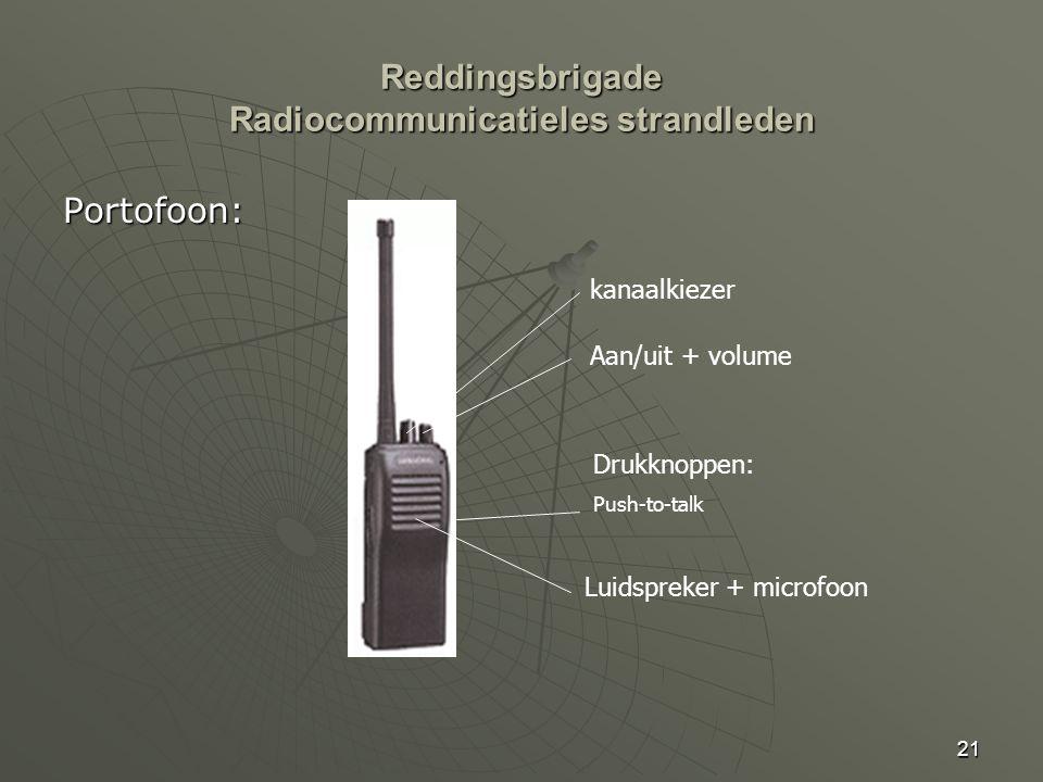 21 Portofoon: kanaalkiezer Aan/uit + volume Luidspreker + microfoon Drukknoppen: Push-to-talk Reddingsbrigade Radiocommunicatieles strandleden