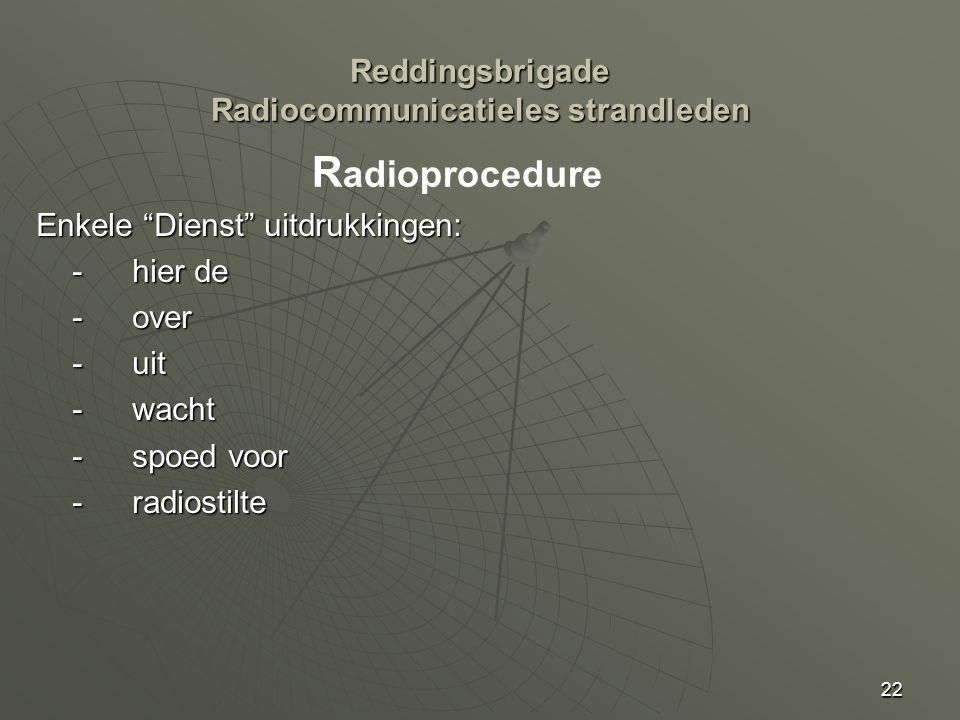 22 Enkele Dienst uitdrukkingen: -hier de -over - uit -wacht -spoed voor -radiostilte R adioprocedure Reddingsbrigade Radiocommunicatieles strandleden
