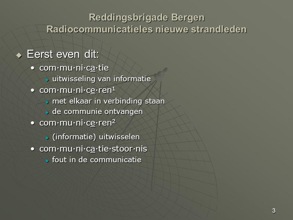 3 Reddingsbrigade Bergen Radiocommunicatieles nieuwe strandleden  Eerst even dit: com·mu·ni·ca·tiecom·mu·ni·ca·tie  uitwisseling van informatie com·