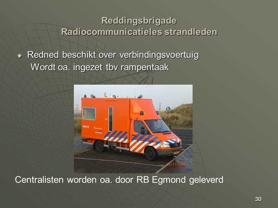 30  Redned beschikt over verbindingsvoertuig Wordt oa. ingezet tbv rampentaak Centralisten worden oa. door RB Egmond geleverd Reddingsbrigade Radioco