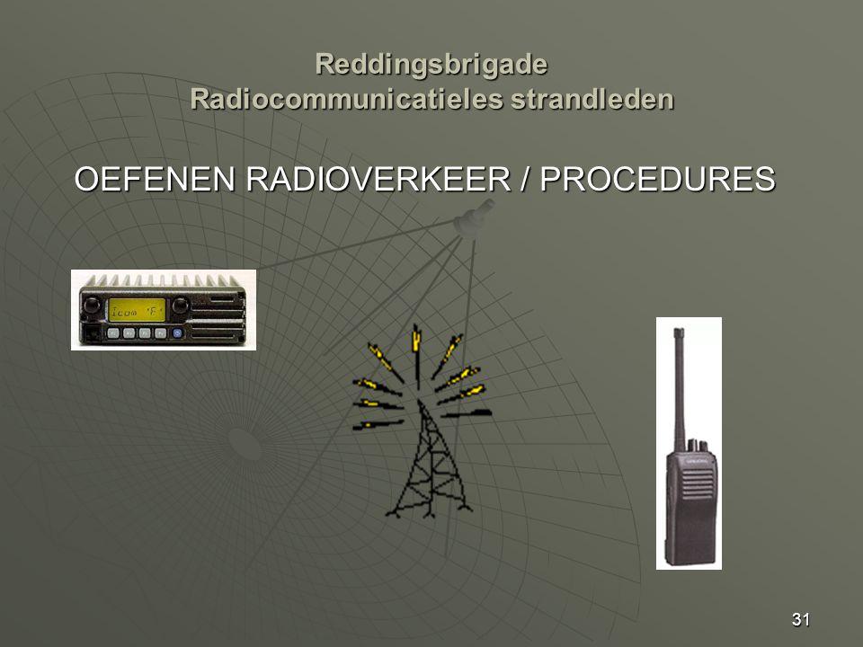 31 OEFENEN RADIOVERKEER / PROCEDURES Reddingsbrigade Radiocommunicatieles strandleden