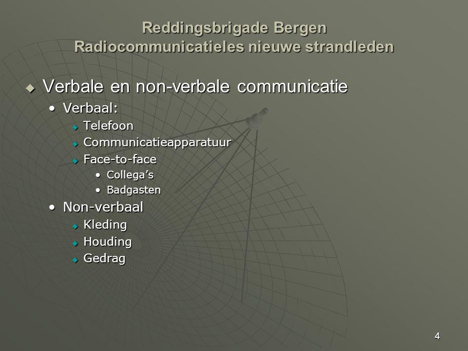 4 Reddingsbrigade Bergen Radiocommunicatieles nieuwe strandleden  Verbale en non-verbale communicatie Verbaal:Verbaal:  Telefoon  Communicatieappar