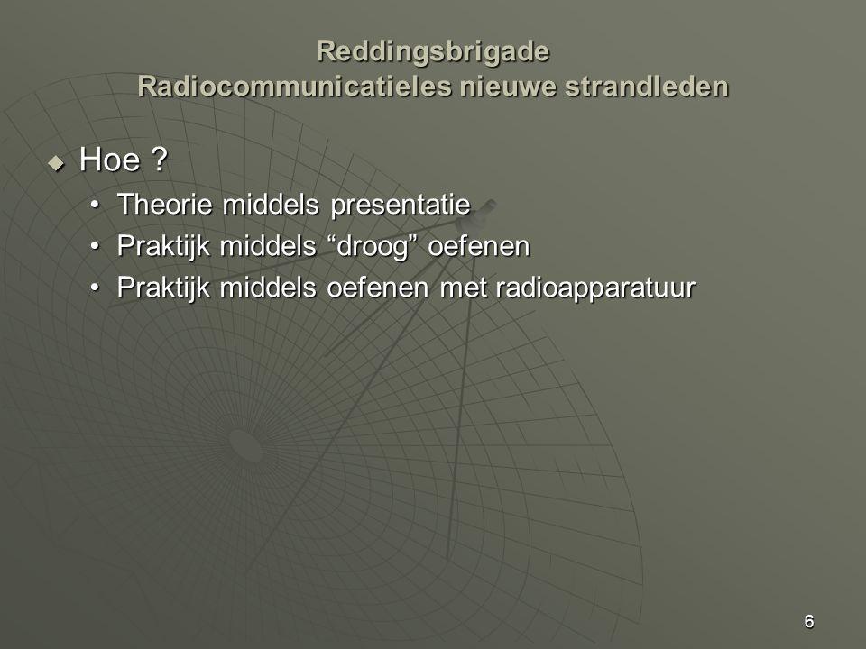 """6 Reddingsbrigade Radiocommunicatieles nieuwe strandleden  Hoe ? Theorie middels presentatieTheorie middels presentatie Praktijk middels """"droog"""" oefe"""