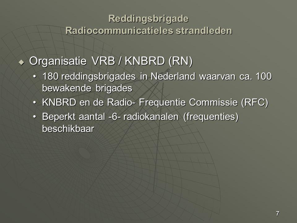7 Reddingsbrigade Radiocommunicatieles strandleden  Organisatie VRB / KNBRD (RN) 180 reddingsbrigades in Nederland waarvan ca.