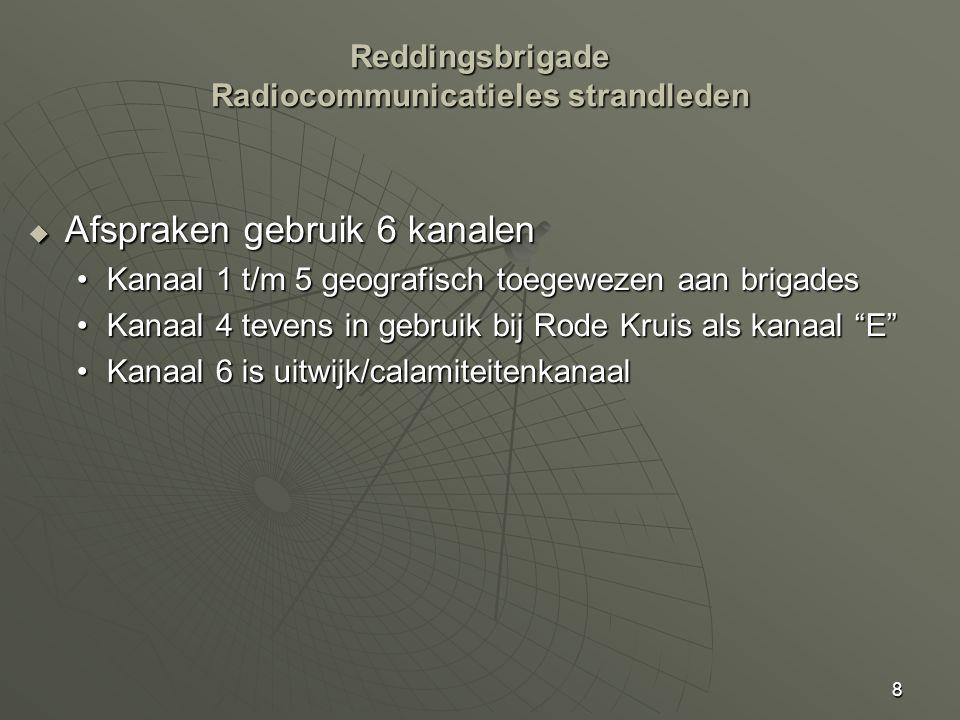 8  Afspraken gebruik 6 kanalen Kanaal 1 t/m 5 geografisch toegewezen aan brigadesKanaal 1 t/m 5 geografisch toegewezen aan brigades Kanaal 4 tevens in gebruik bij Rode Kruis als kanaal E Kanaal 4 tevens in gebruik bij Rode Kruis als kanaal E Kanaal 6 is uitwijk/calamiteitenkanaalKanaal 6 is uitwijk/calamiteitenkanaal Reddingsbrigade Radiocommunicatieles strandleden