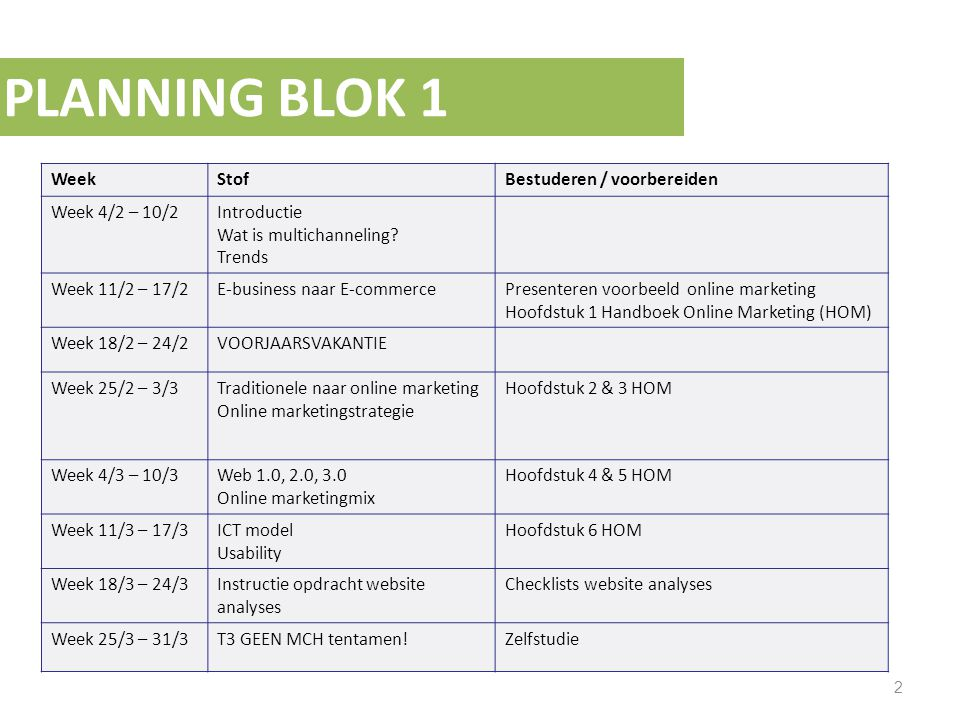 PLANNING BLOK 2 3 WeekStofBestuderen / voorbereiden Week 1/4 - 7/4 Presentatie website analyses (20%) Week 8/4 – 14/4 E-mailmarketing Zoekmachinemarketing Microsites Hoofdstuk 9, 10, 11 HOM Start groepen E-marketingplan Week 15/4 – 21/4 Social Media Webvertising Affiliates Online video Advertising Hoofdstuk 12, 13, 15 HOM Week 22/4 – 28/4 Het plan, de campagne Instructie e-marketingplan Hoofdstuk 16 HOM Week 29/4 - 5/5 MEIVAKANTIE Week 6/5 – 12/5 GASTSPREKER Week 13/5 – 19/5 Mobile marketing Trends & ontwikkelingen Hoofdstuk 14 Week 20/5 – 26/5 Uitloop Week 27/5 – 2/6 E-marketingplan inleveren (30%) Oefententamen Week 3/6 Tentamenweek MCH tentamen (50%)
