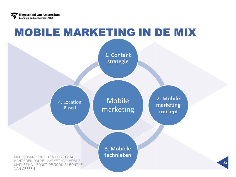MOBILE MARKETING IN DE MIX MULTICHANNELING | HOOFDSTUK 14 HANDBOEK ONLINE MARKETING | MOBILE MARKETING | ERNST DE ROOS & LEONTINE VAN GEFFEN 33 Mobile
