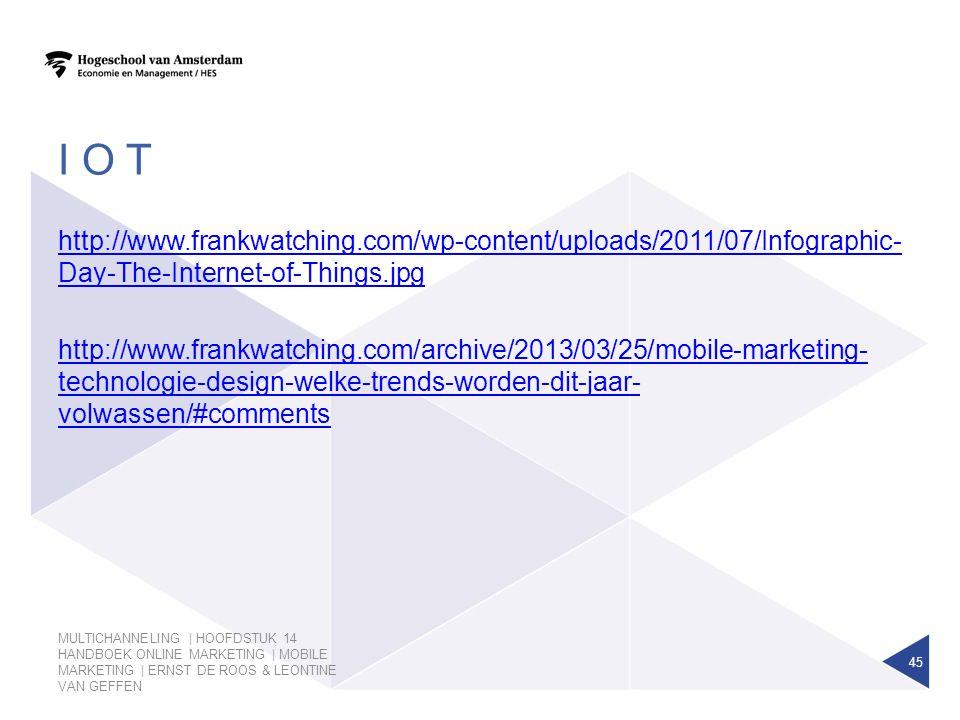 I O T MULTICHANNELING | HOOFDSTUK 14 HANDBOEK ONLINE MARKETING | MOBILE MARKETING | ERNST DE ROOS & LEONTINE VAN GEFFEN 45 http://www.frankwatching.co
