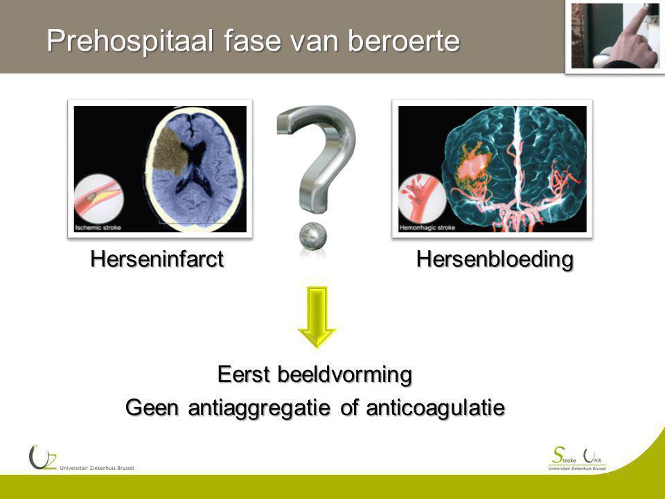 HerseninfarctHersenbloeding Eerst beeldvorming Geen antiaggregatie of anticoagulatie