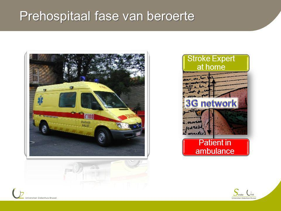 Prehospitaal fase van beroerte Patient in ambulance Stroke Expert at home