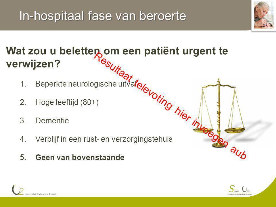 In-hospitaal fase van beroerte Wat zou u beletten om een patiënt urgent te verwijzen? 1.Beperkte neurologische uitval 2.Hoge leeftijd (80+) 3.Dementie