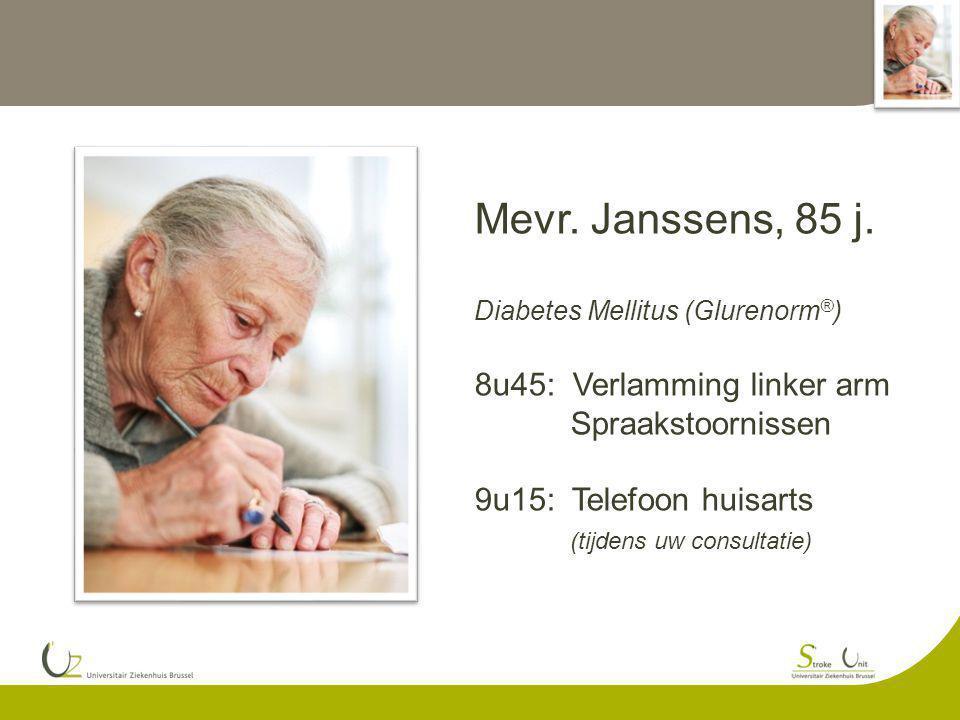 Mevr. Janssens, 85 j. Diabetes Mellitus (Glurenorm ® ) 8u45: Verlamming linker arm Spraakstoornissen 9u15: Telefoon huisarts (tijdens uw consultatie)