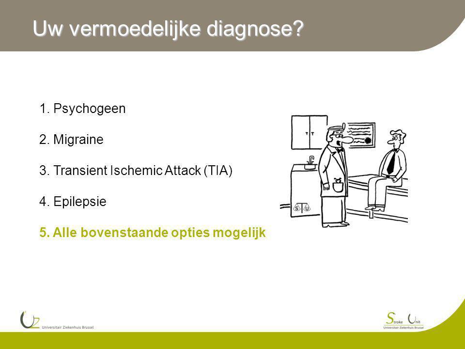 Uw vermoedelijke diagnose? 1. Psychogeen 2. Migraine 3. Transient Ischemic Attack (TIA) 4. Epilepsie 5. Alle bovenstaande opties mogelijk