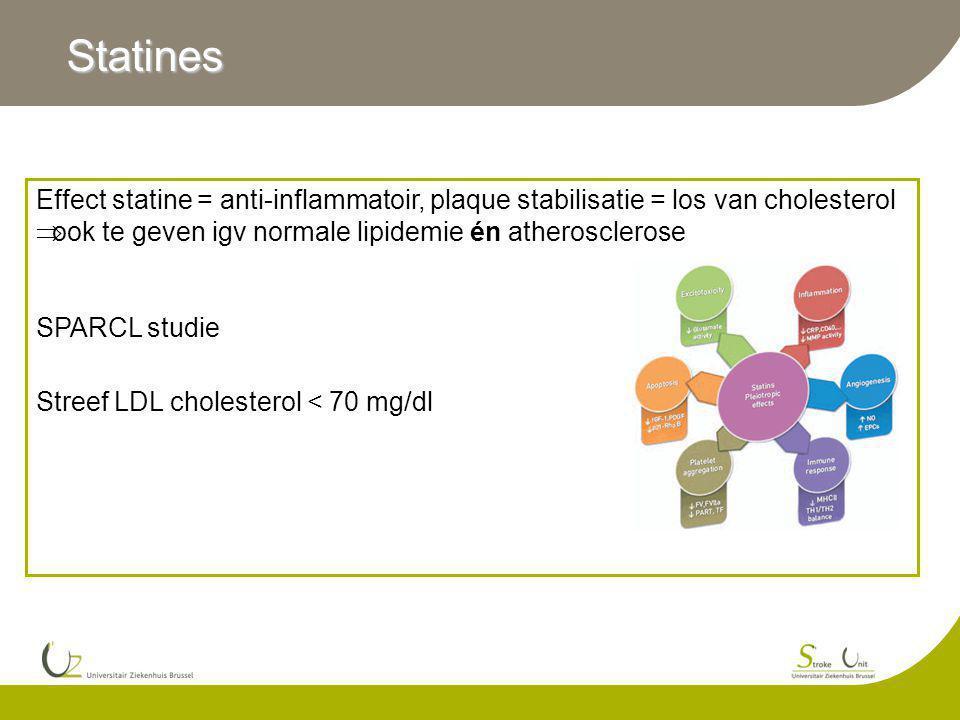 Statines Effect statine = anti-inflammatoir, plaque stabilisatie = los van cholesterol  ook te geven igv normale lipidemie én atherosclerose SPARCL studie Streef LDL cholesterol < 70 mg/dl