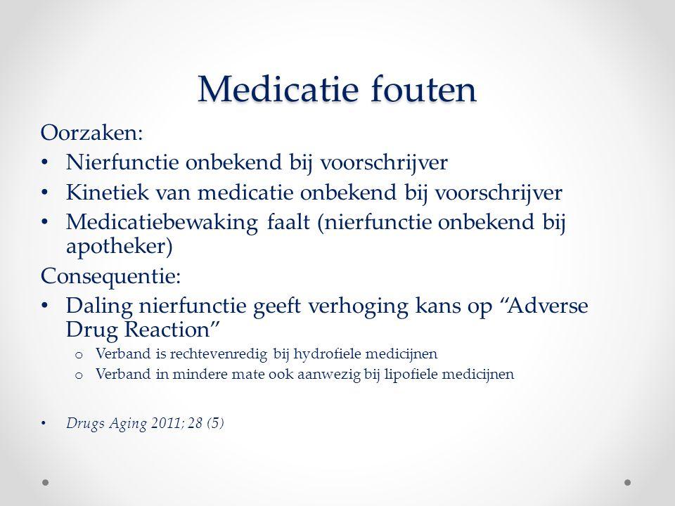 Medicatie fouten Oorzaken: Nierfunctie onbekend bij voorschrijver Kinetiek van medicatie onbekend bij voorschrijver Medicatiebewaking faalt (nierfunct