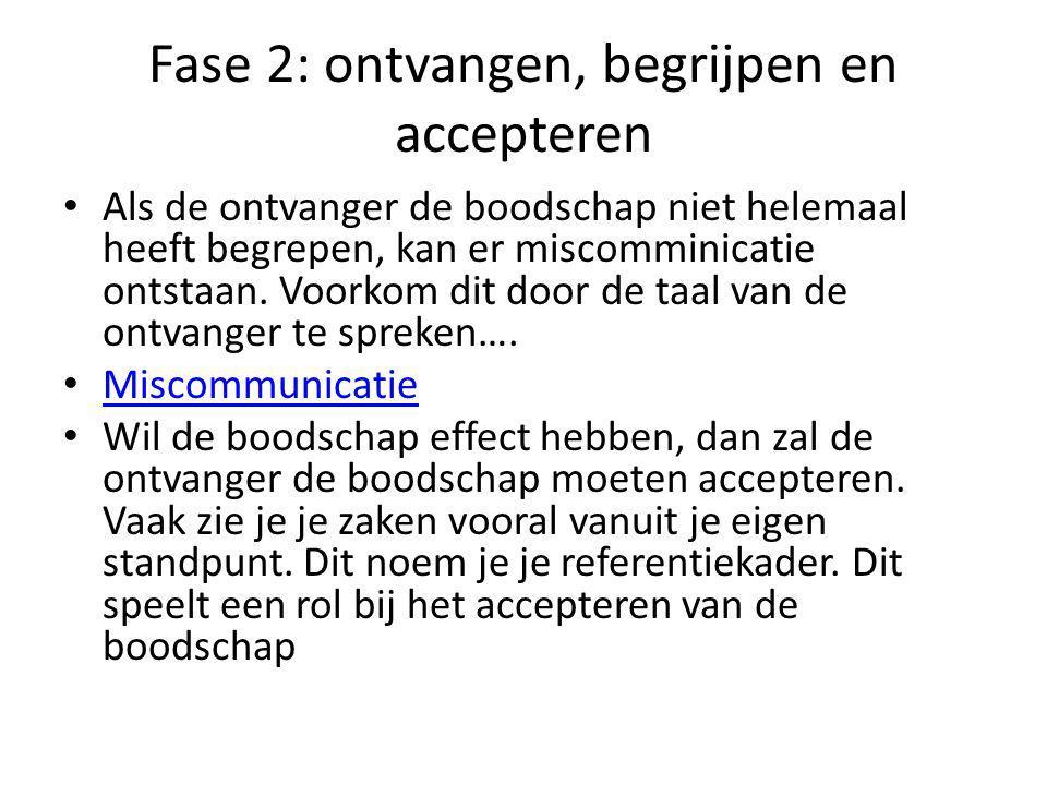 Fase 2: ontvangen, begrijpen en accepteren Als de ontvanger de boodschap niet helemaal heeft begrepen, kan er miscomminicatie ontstaan.