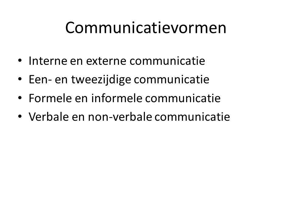 Communicatievormen Interne en externe communicatie Een- en tweezijdige communicatie Formele en informele communicatie Verbale en non-verbale communicatie