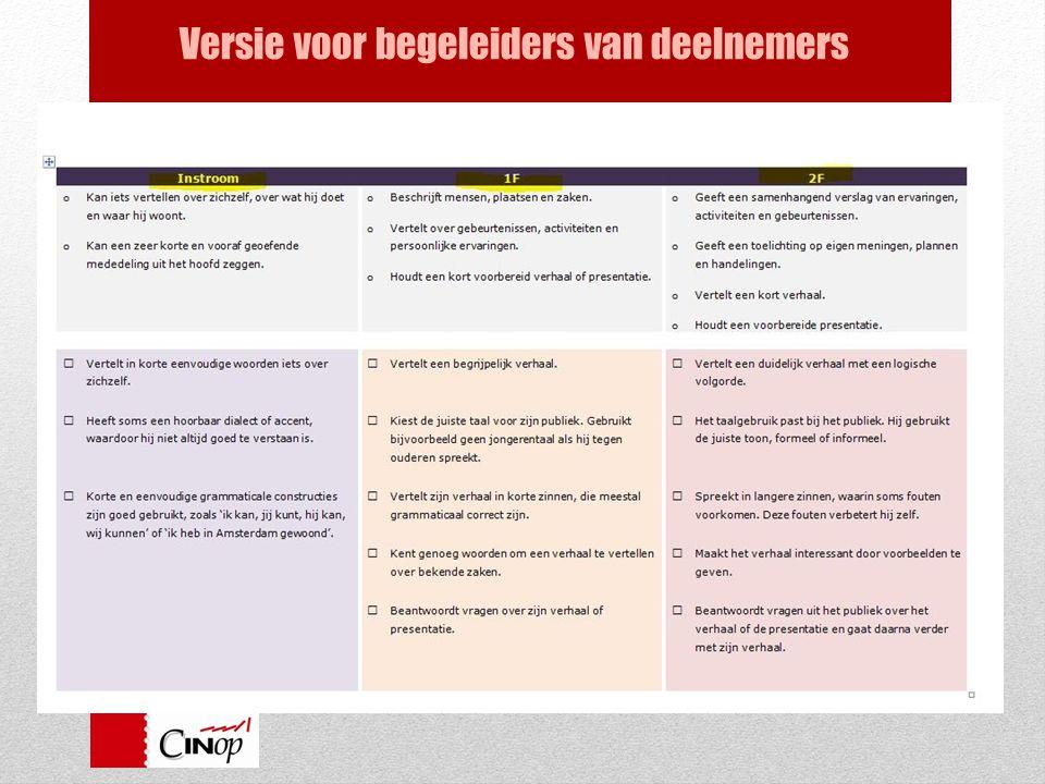 Handreiking bij de standaarden en eindtermen ve Versie voor begeleiders van deelnemers