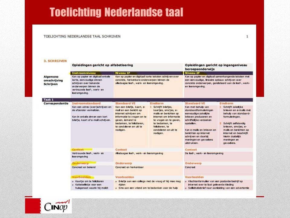 Toelichting Nederlandse taal