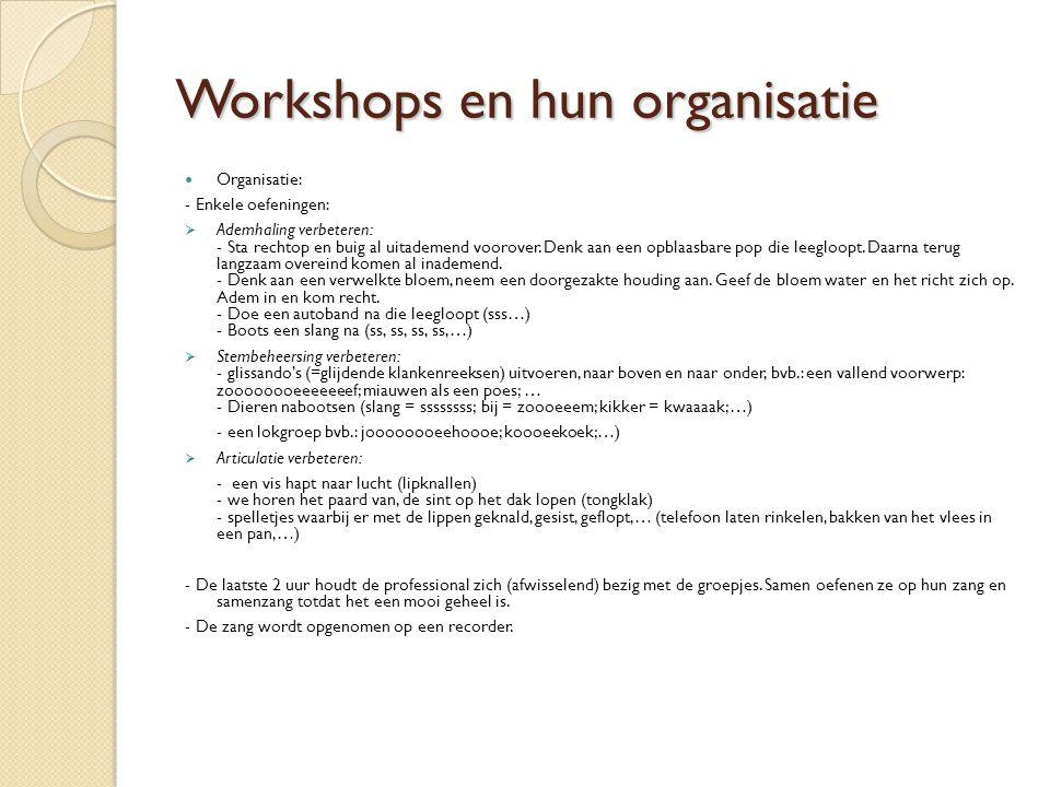 Workshops en hun organisatie Organisatie: - Enkele oefeningen:  Ademhaling verbeteren: - Sta rechtop en buig al uitademend voorover.