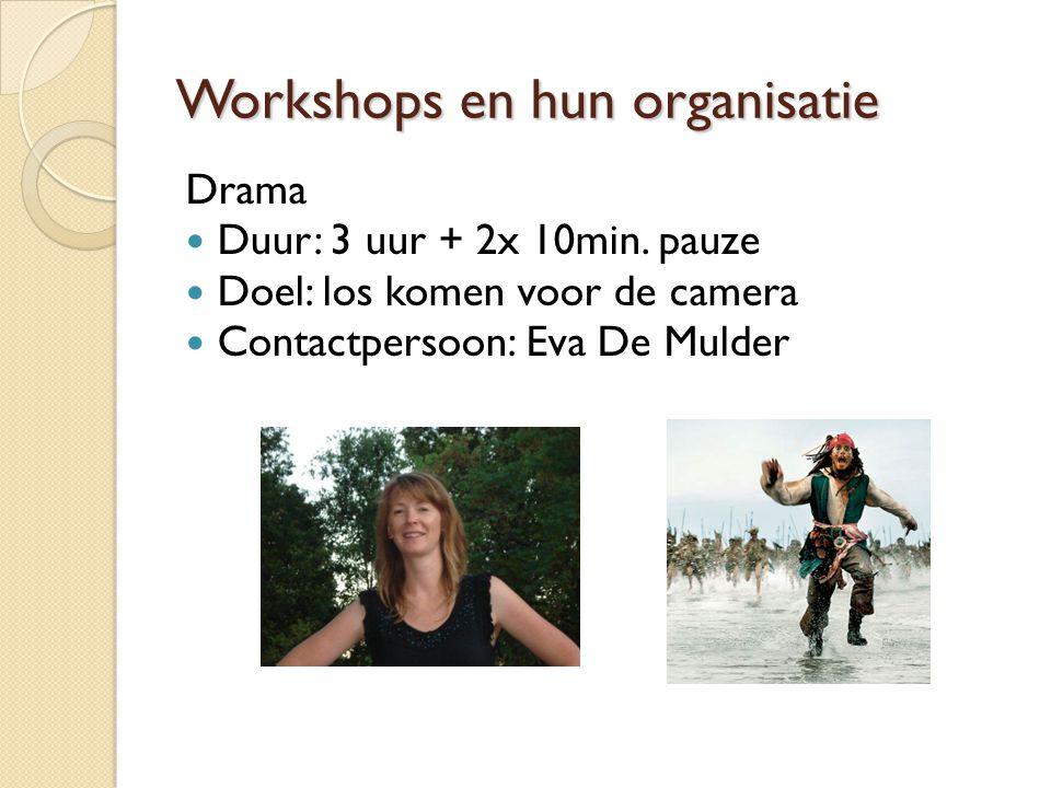 Workshops en hun organisatie Drama Duur: 3 uur + 2x 10min.