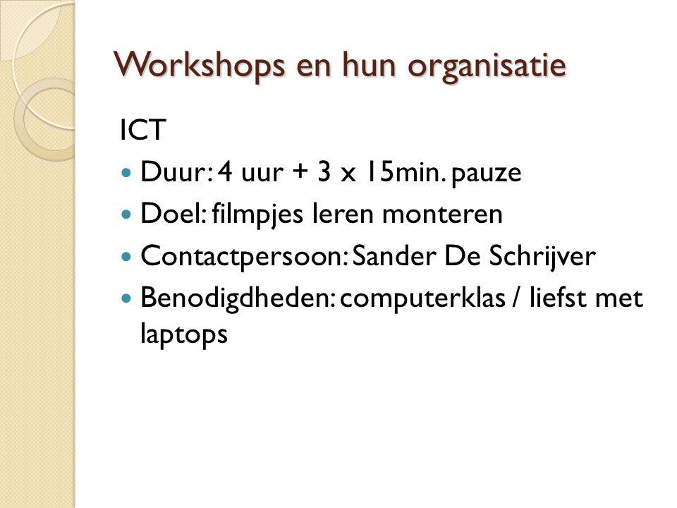 Workshops en hun organisatie ICT Duur: 4 uur + 3 x 15min.